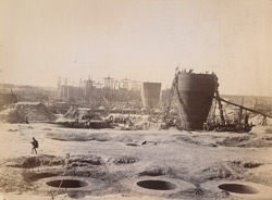 General view of works taken from top of well No 44 in north abutment, [Nadrai Aqueduct, Lower Ganges Canal], March 1888.